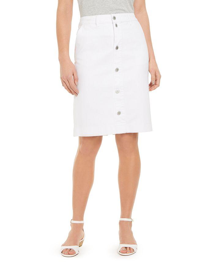 Charter Club - Button-Front Knee-Length Denim Skirt