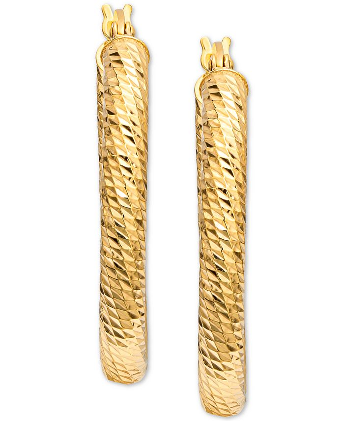 Giani Bernini - Textured Oval Hoop Earrings in 18k Gold-Plated Sterling Silver