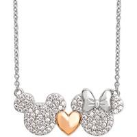 Disney Cubic Zirconia Mickey Heart Minnie Necklace