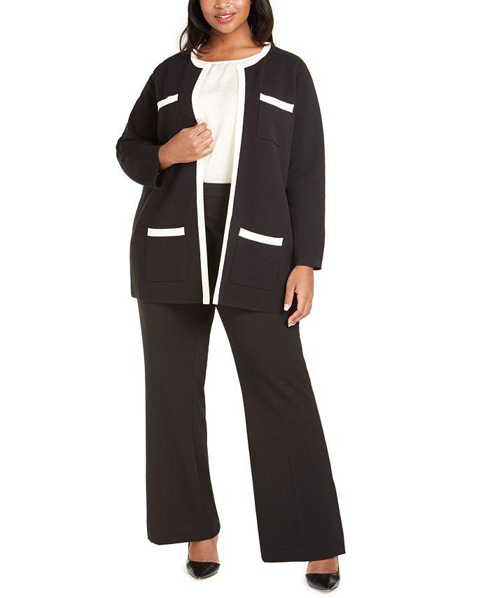 Anne Klein - Plus Size Paris Contrast-Trim Cardigan
