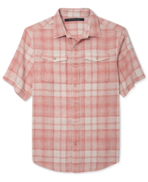 Sean John Big and Tall Shirt Linen Check Short Sleeve Shirt