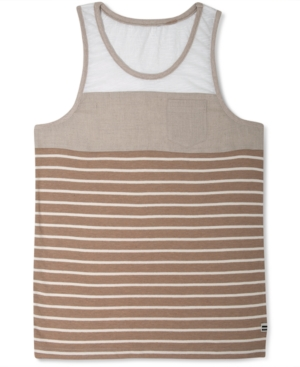 Sean John TShirt Mixed Fabric Stripe Tank