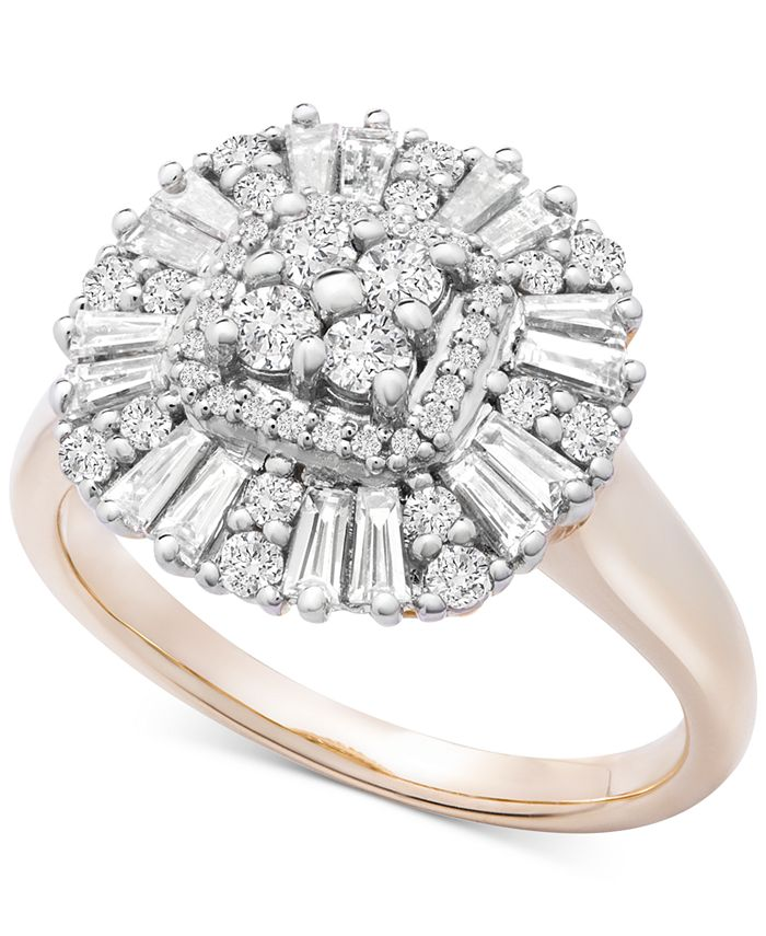 Macy's - Diamond Baguette Cluster Statement Ring (3/4 ct. t.w.) in 14k Gold