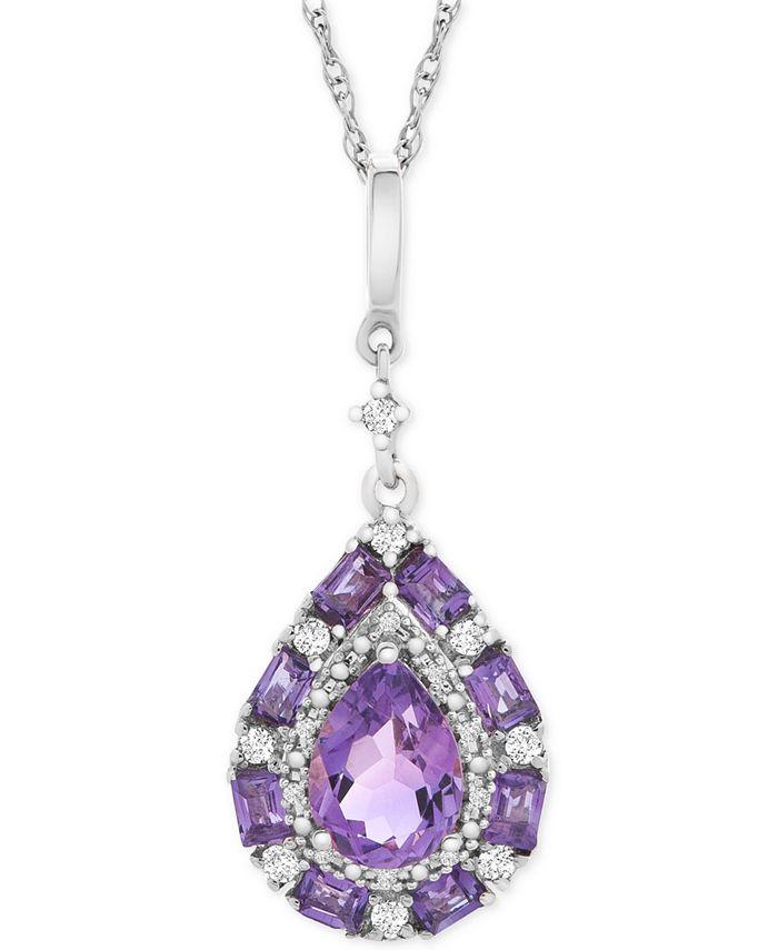 """Macy's - Multi-Gemstone Teardrop 18"""" Pendant Necklace (1 ct. t.w.) in Sterling Silver"""
