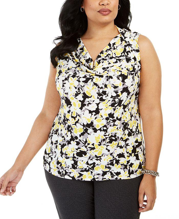 Kasper - Plus Size Floral-Print Drape-Neck Sleeveless Blouse
