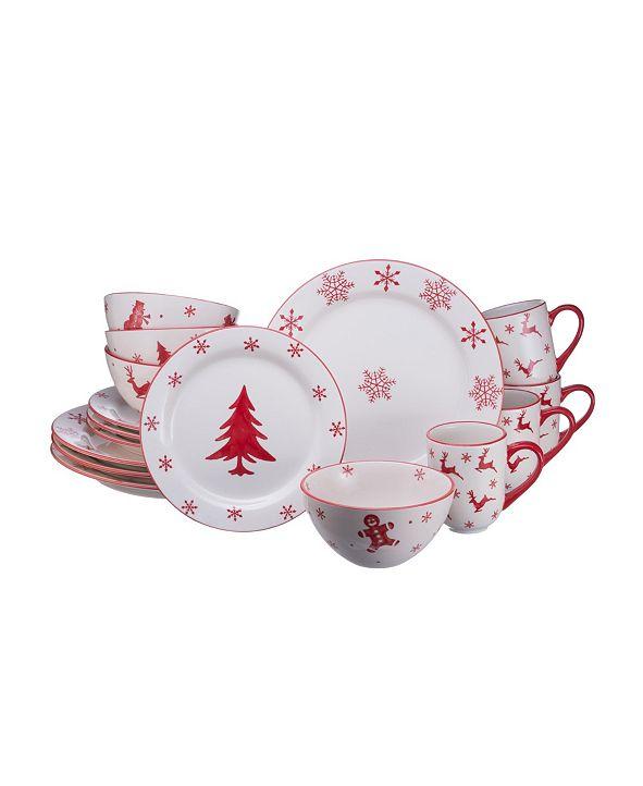 Euro Ceramica Winterfest 16 Piece Dinnerware Set