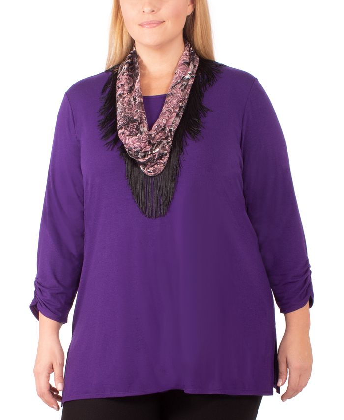 NY Collection - Plus Size Removable-Scarf Top