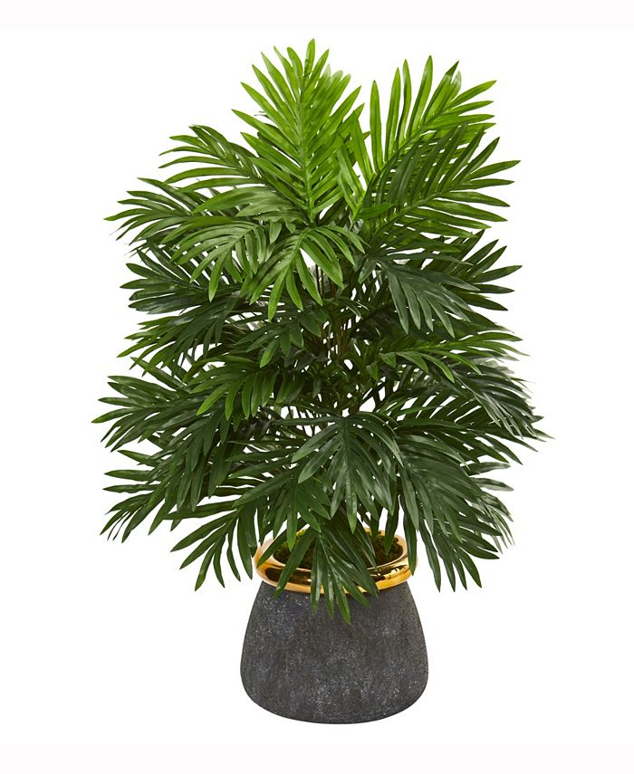 Nearly Natural - 29in. Areca Palm Artificial Plant in Planter with Brass Trimming