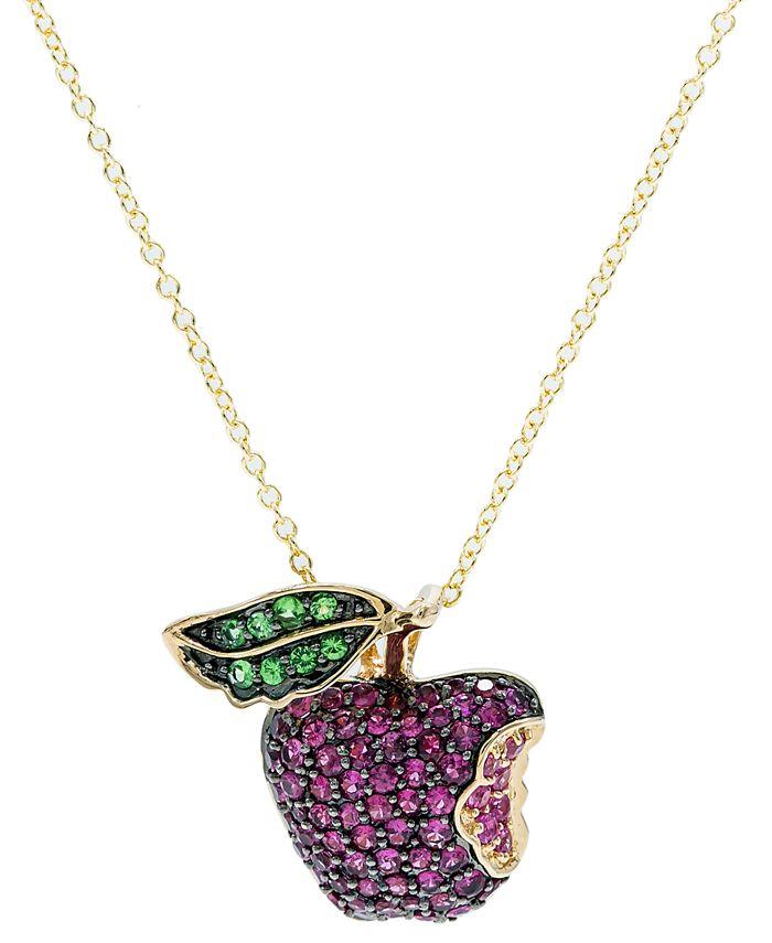 Macy's - Certified Ruby (1-1/2 ct. t.w.), Tsavorite (1/5 ct. t.w.) Pink Sapphire (1/5 ct. t.w.) Pendant in  14K Gold