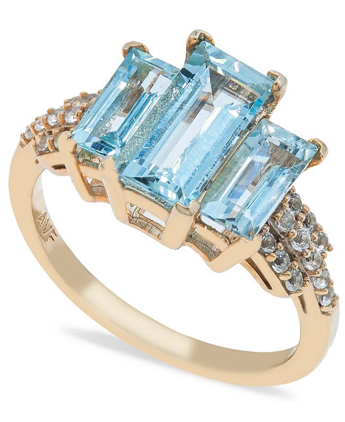 Macy's - Aquamarine (3 ct. t.w) Diamond (1/2 ct. t.w.) Ring in 14K Yellow Gold