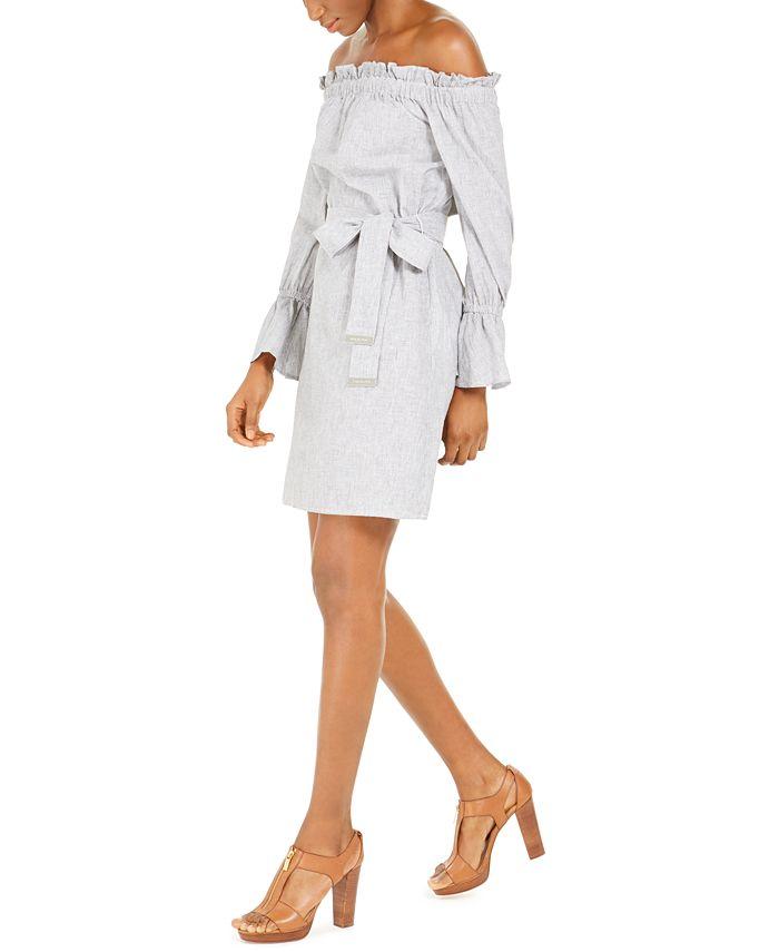 Michael Kors - Striped Off-The-Shoulder Dress