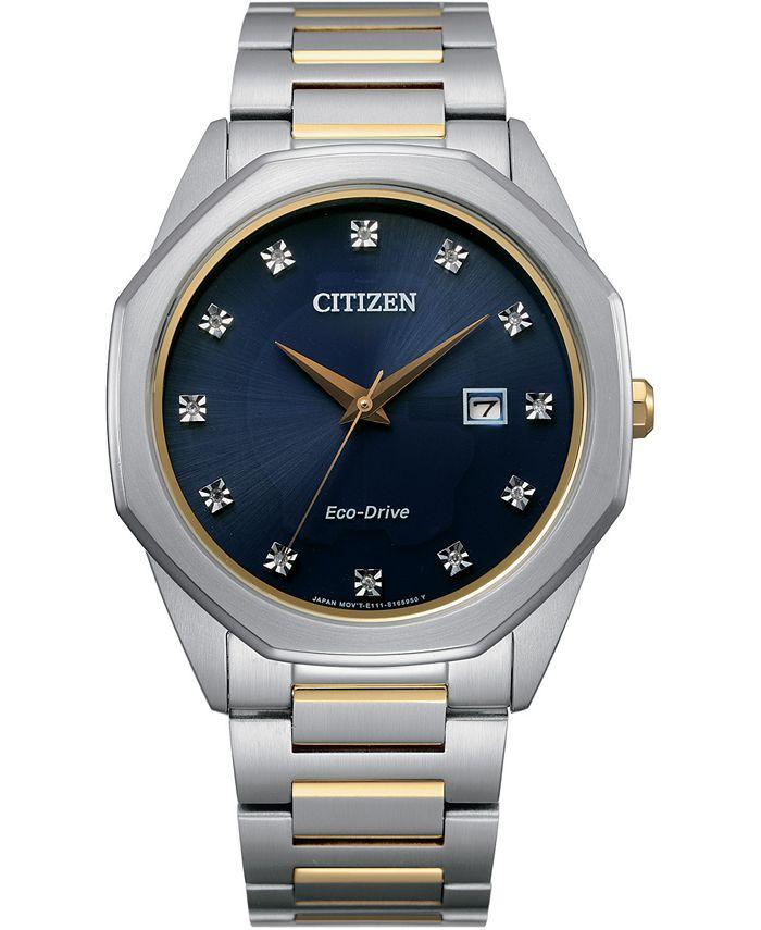 Citizen - Men's Corso Diamond-Accent Two-Tone Stainless Steel Bracelet Watch 41mm