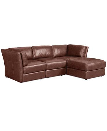 Ramiro Leather Modular Sectional Sofa 3 Piece Square