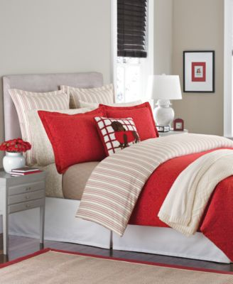 CLOSEOUT! Martha Stewart Collection Gallery Tile Flannel Full/Queen Duvet Cover