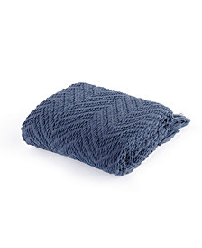 Battilo Knit Zig Zag Textured Woven Micro Chenille Throw