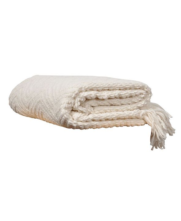 Battilo Knit Zig Zag Textured Woven Micro Chenille Throw, Extra Large