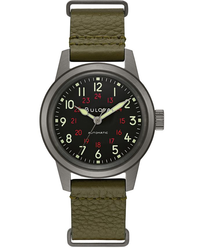 Bulova - Men's Automatic Military Green Leather Strap Watch 38mm