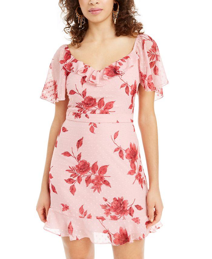 City Studios - Juniors' Swiss-Dot Floral A-Line Dress