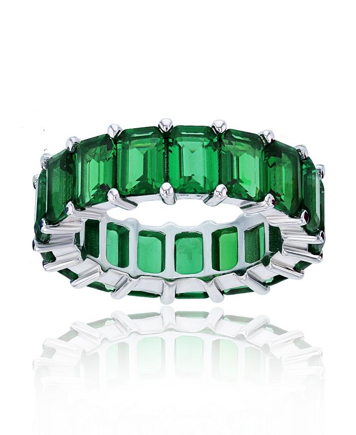 Macy's - Green Cubic Zirconias Eternity Band in Rhodium Plated Sterling Silver