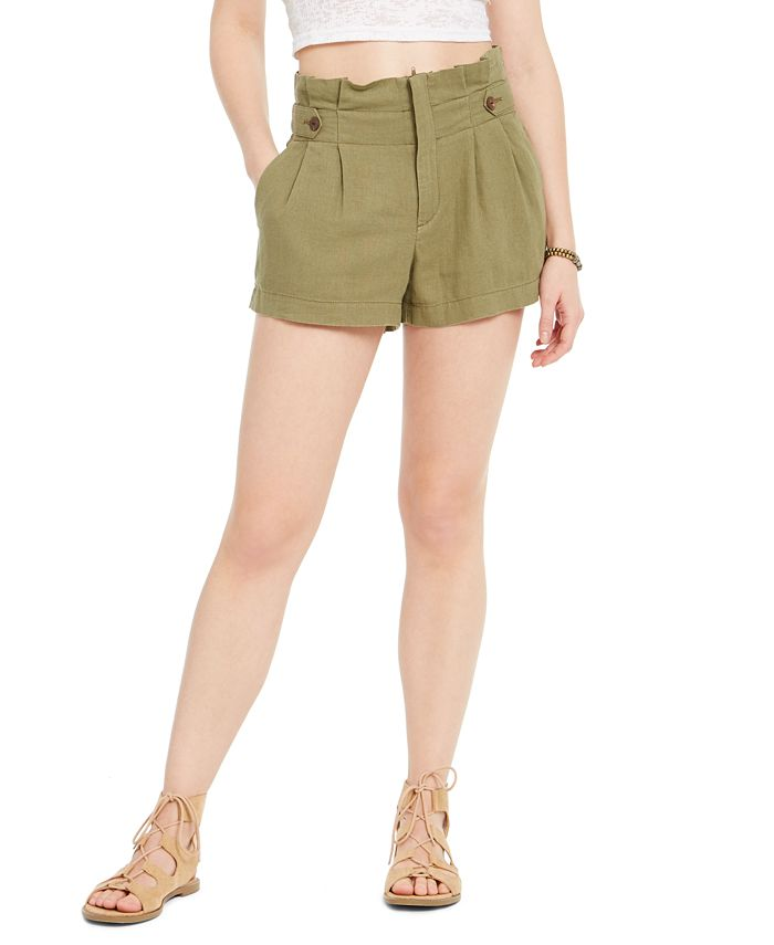 Rewash - Juniors' Button-Tab Paper-Bag Waist Shorts