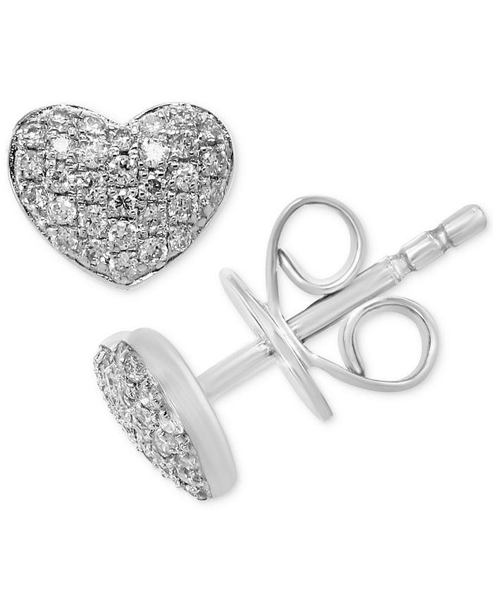 EFFY Collection - Diamond Pavé Heart Stud Earrings (1/5 ct. t.w.) in Sterling Silver