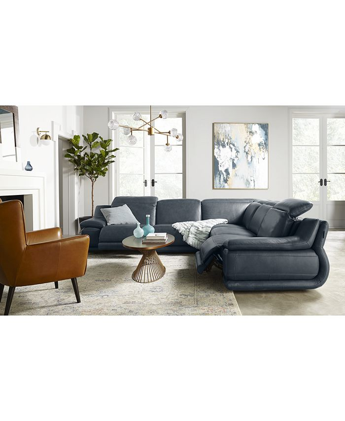 "Furniture - Daisley 5-Pc. Leather ""L"" Shaped Sectional Sofa with 2 Power Recliners"