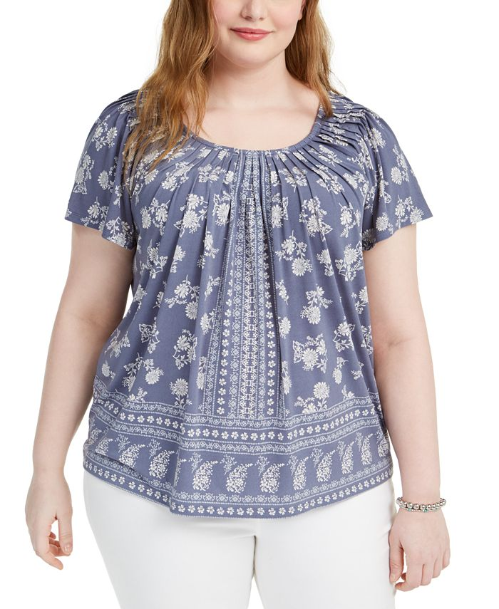 Style & Co - Plus Size Floral-Print Pleated-Neck Top