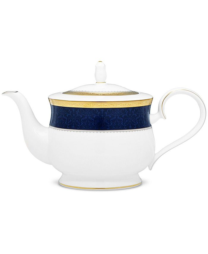 Noritake - Odessa Cobalt Gold Tea Pot, 43 Oz.