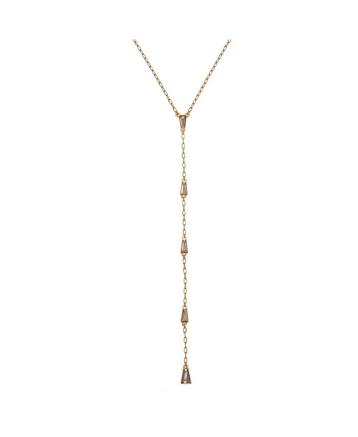Christian Siriano New York - Gold Tone Y Necklace with Baguette Stone Accents