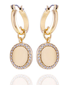 T Tahari Pave Fire Essential Hoop with Charm Earring