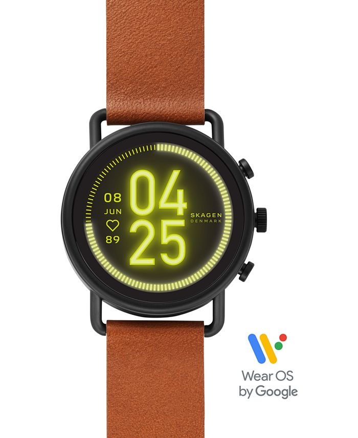Skagen - Unisex Falster 3 Brown Leather Strap Touchscreen Smart Watch 43mm