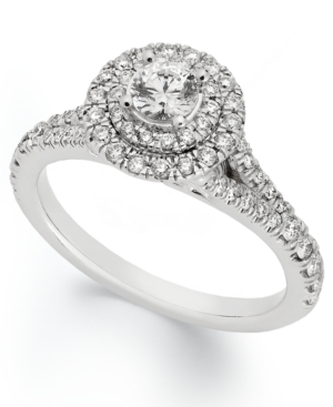 X3 Certified Diamond Round Halo Engagement Ring in 18k White Gold (1 ct. t.w.)