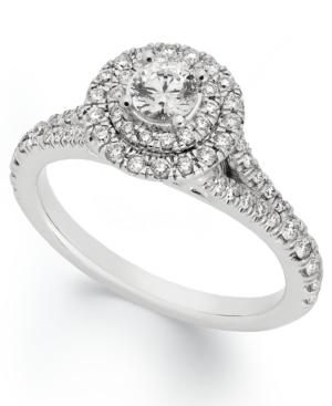 X3 Diamond Ring, 18k White Gold Certified Diamond Round Halo Engagement Ring (1 ct. t.w.)