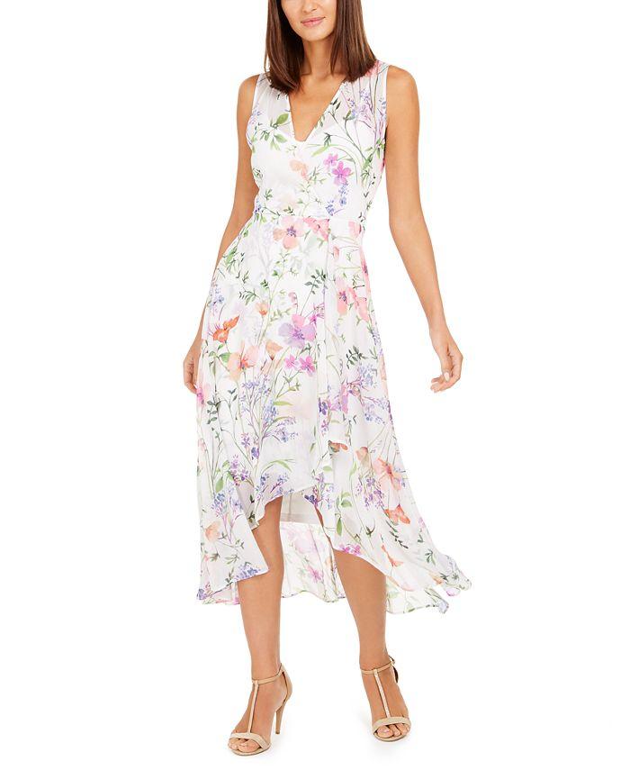 Calvin Klein - Surplice Floral-Print Midi Dress