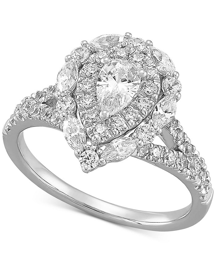 Macy's - Diamond Pear Halo Engagement Ring (1-1/2 ct. t.w.) in 14k White Gold