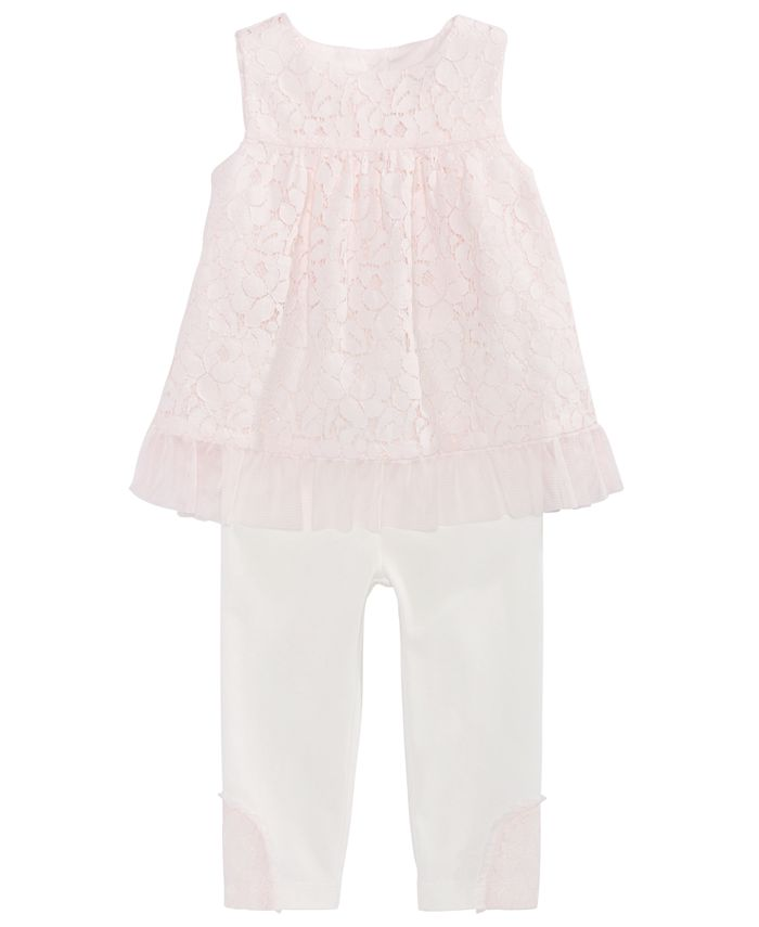 First Impressions - Baby Girls 2-Pc. Lace Tunic & Leggings Set, Created For Macy's