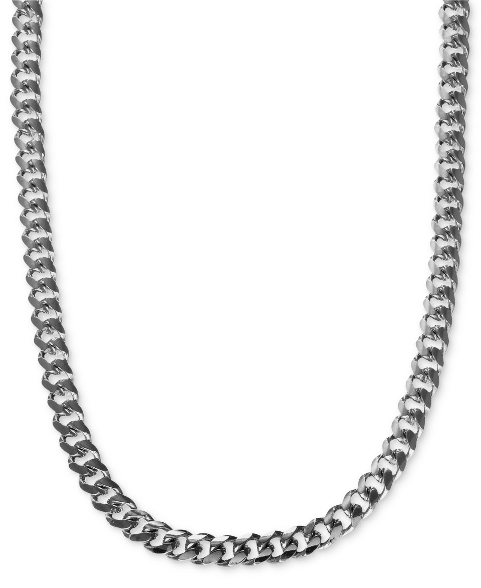 Mens Sterling Silver Curb Link Necklace   Necklaces   Jewelry & Watches
