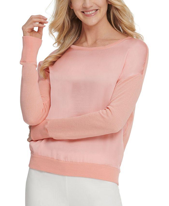 DKNY - Satin-Front Sweater