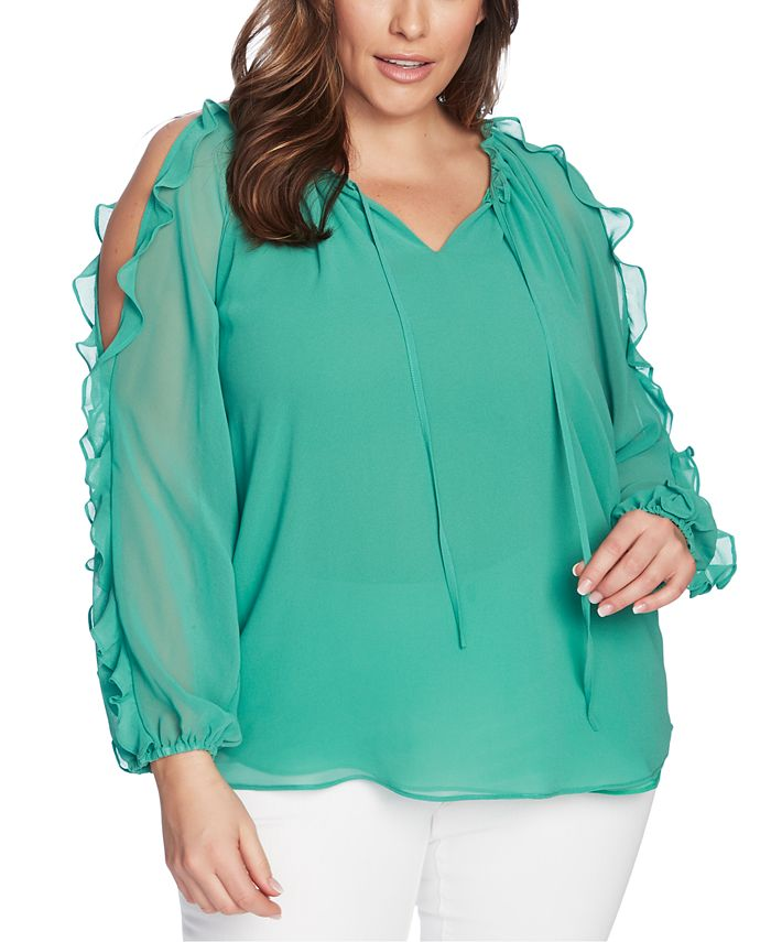 1.STATE - Trendy Plus Size Ruffled Cold-Shoulder Top