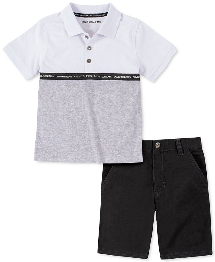 Calvin Klein - Toddler Boys 2-Pc. Colorblocked Logo Tape Polo Shirt & Twill Shorts Set