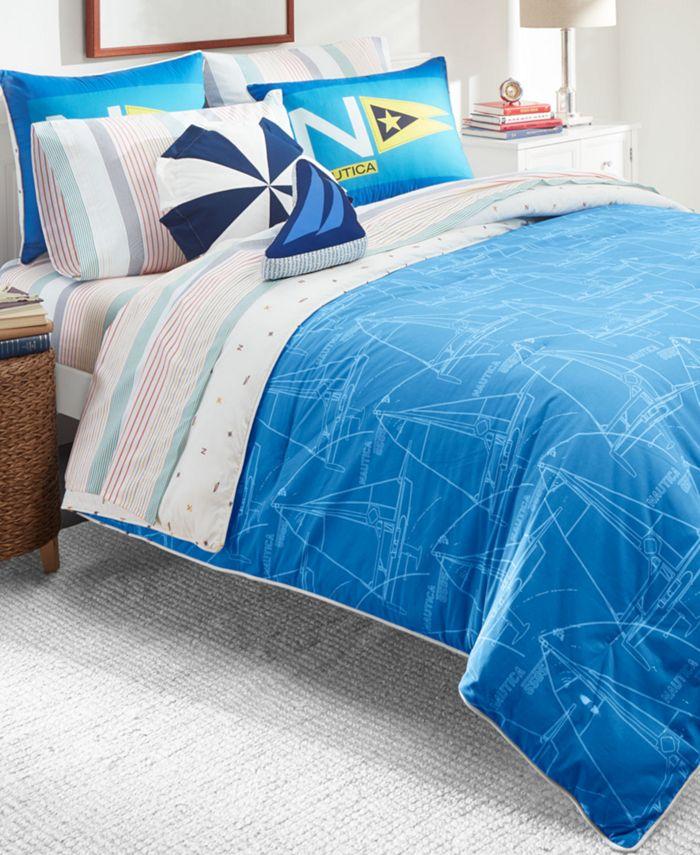 Nautica - Kids Sailboat Blueprint 3-Piece Full Comforter Set
