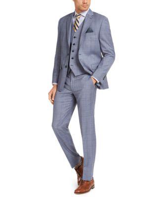 Men's Classic-Fit UltraFlex Stretch Light Blue Plaid Suit Vest
