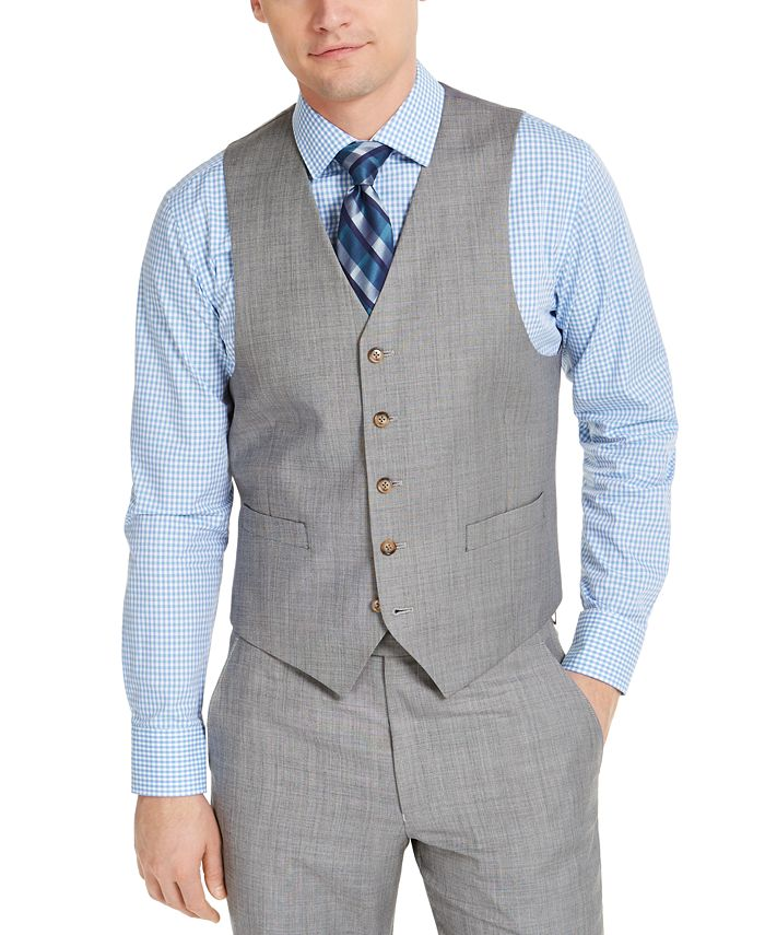 Lauren Ralph Lauren - Men's Classic-Fit UltraFlex Stretch Light Gray Sharkskin Suit Vest