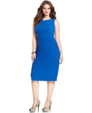 Calvin Klein Plus Size Dress, Sleeveless Shutter Cocktail
