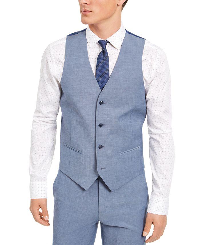 Alfani - Men's Slim-Fit Stretch Light Gray Solid Suit Vest