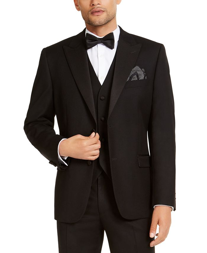 Alfani - Men's Classic-Fit Stretch Black Twill Suit Jacket