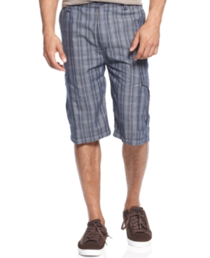 Sean John Shorts Chambray Plaid Shorts