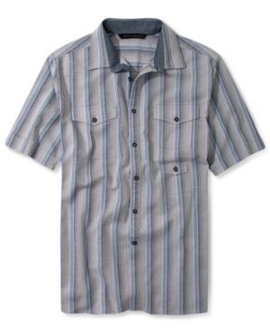 Sean John Big  Tall Shirt Stripe Slub Weave Short Sleeve Shirt