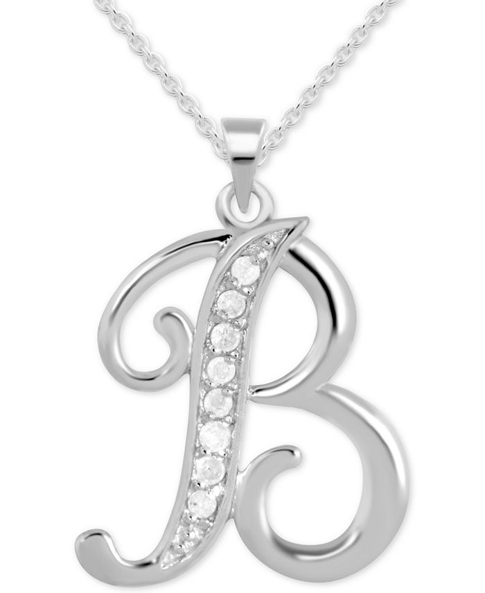"""Macy's - Diamond B Initial 18"""" Pendant Necklace (1/10 ct. t.w.) in Sterling Silver"""