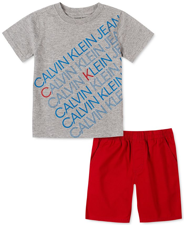 Calvin Klein - Toddler Boys 2-Pc. Logo T-Shirt & Twill Shorts Set